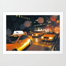 Cabs in the Rain Art Print