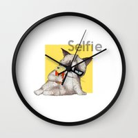 french fries Wall Clocks featuring Selfie with French Fries by stylishbunny