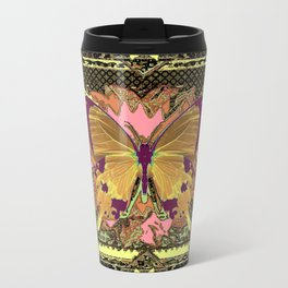 Western Style Swallow Tail Butterfly in pinks and Greenish Black Designs Travel Mug