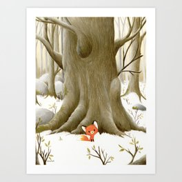 The little fox and the tree Art Print