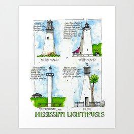 Mississippi Lighthouses Art Print
