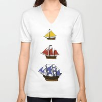 pirate ship V-neck T-shirts featuring Pirate Ship Convoy by Scottdoesart