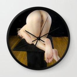 8319s-KMA Art Nude Model Kneeling on Pedestal Head Down Bottoms Up Wall Clock
