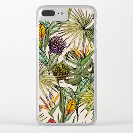 Tropical leaves and flowers Clear iPhone Case