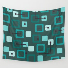 Midcentury 1950s Tiles & Squares Teal Wall Tapestry