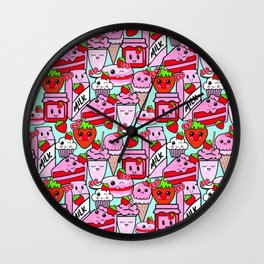 Kawaii Strawberries Wall Clock