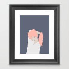 Pink Hair Beauty Framed Art Print