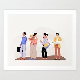 Queuing Art Print