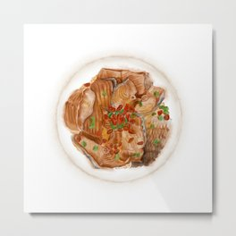 Watercolor Illustration of Chinese Cuisine - Xiangxi Sour Fish | 湘西醋鱼 Metal Print