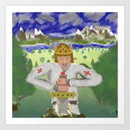King Arthur Extracts Excalibur Art Print