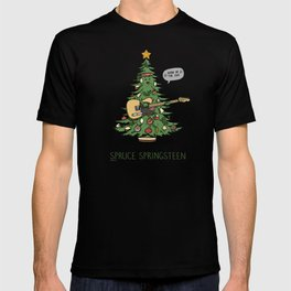 Spruce Springsteen - Funny Christmas Music Cartoon Pun T-shirt
