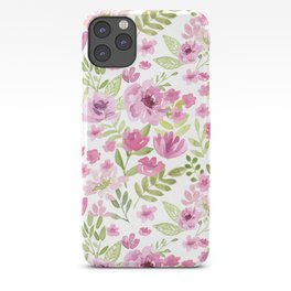 Watercolor/Ink Sweet Pink Floral Painting iPhone Case