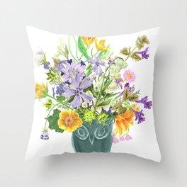 Wildflower Bouquet in Owl Vase illustration Throw Pillow