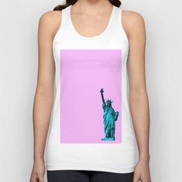 Blue Statue of Liberty on Pink Unisex Tank Top