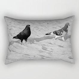 Black and White Beach Birds Rectangular Pillow