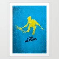 skateboard Art Prints featuring skateboard  by Easyposters