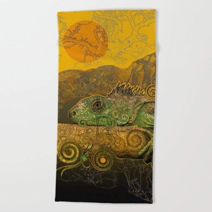 Just Chilling and Dreaming...(Lizard) Beach Towel