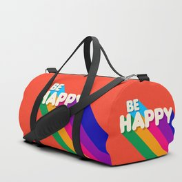 BE HAPPY - rainbow retro typography Duffle Bag