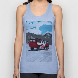 Athabasca Glacier and red bus Unisex Tank Top