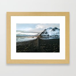 Mountain beach road in Iceland - Landscape Photography Framed Art Print