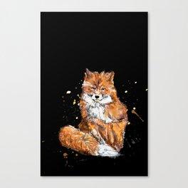 Fox in black Canvas Print