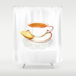 Cup of Tea and a biscuit Shower Curtain