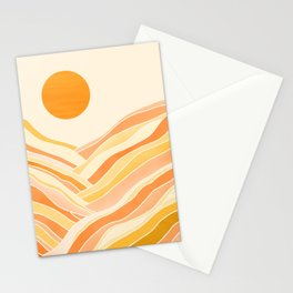 Golden Mountain Sunset / Abstract Landscape Stationery Cards