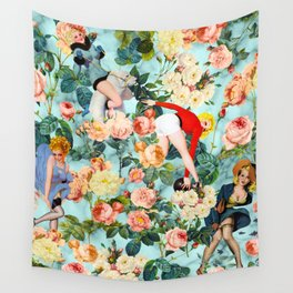 Floral and Pin Up Girls II Pattern Wall Tapestry