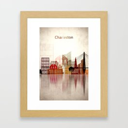 South Carolina, Charleston Skyline Framed Art Print