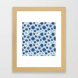 Organic Medallions - Blue Framed Art Print