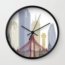 Dallas skyline poster Wall Clock