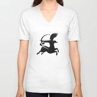zodiac V-neck T-shirts featuring Zodiac - Sagittarius by Rebelot