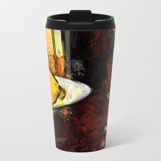 Lemon, Wine, Glass and Fork Metal Travel Mug