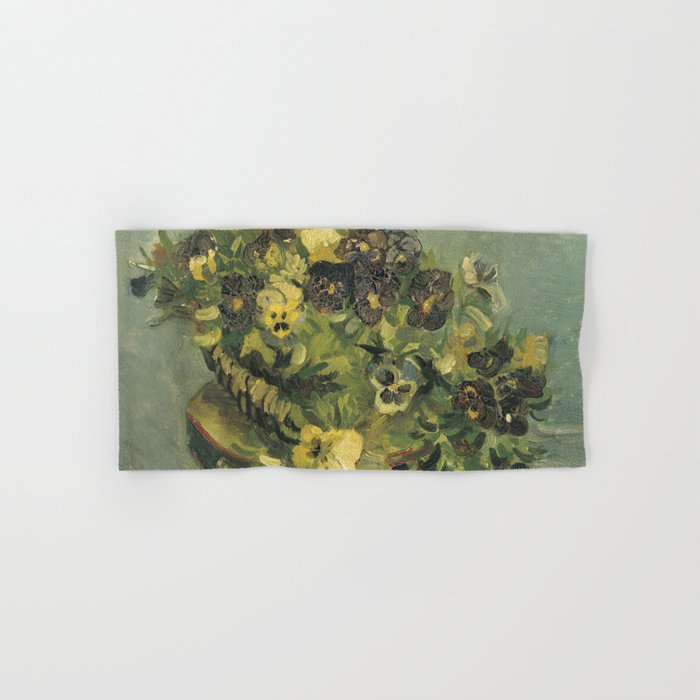 Basket of Pansies by Vincent van Gogh Hand & Bath Towel by palazzoartgallery