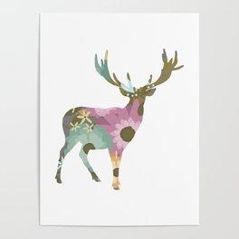 Floral Deer 01 Poster