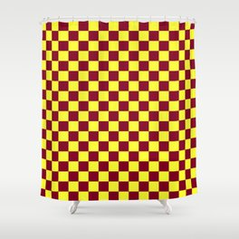 Electric Yellow and Burgundy Red Checkerboard Shower Curtain