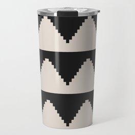 Geometric Pyramid Pattern - Black Travel Mug