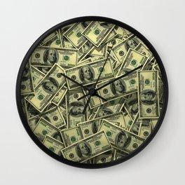 100 dollar cash get rich Wall Clock