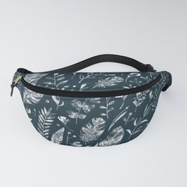 Feathers And Leaves Abstract Pattern Black And White Fanny Pack