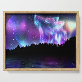 Northern landscape with howling wolf spirit and aurora borealis Serving Tray