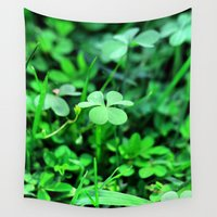 clover Wall Tapestries featuring Clover Stay by Julie Maxwell