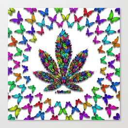 Butterflies Cannabis Leaf 2 Canvas Print
