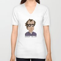 woody allen V-neck T-shirts featuring Woody Allen by Pixel Faces