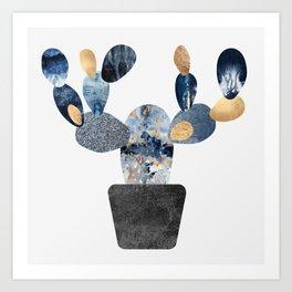 Blue & Gold Cactus Art Print