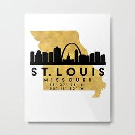 ST. LOUIS MISSOURI SILHOUETTE SKYLINE MAP ART Metal Print
