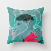 aries Throw Pillows featuring Aries by Musya