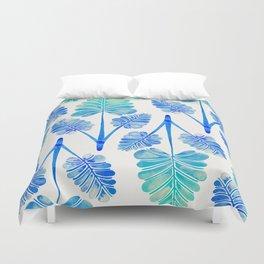 Tropical Palm Leaf Trifecta – Blue Ombré Palette Duvet Cover