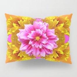 FUCHSIA PINK DAHLIAS & YELLOW SUNFLOWERS GARDEN ART Pillow Sham