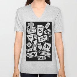 Bargain B&W Vintage Tags Unisex V-Neck