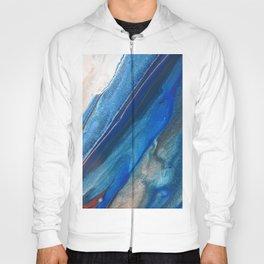 Dark Blue Flow II - Blue Striped Fluid Pour Painting Metallic Hoody
